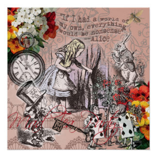 Poster Alice dans le chapelier et le lapin du pays des