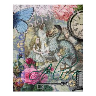 Poster Alice en collage vintage de dronte du pays des