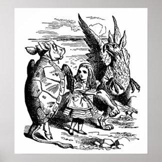Poster Alice vintage au pays des merveilles, Gryphon,