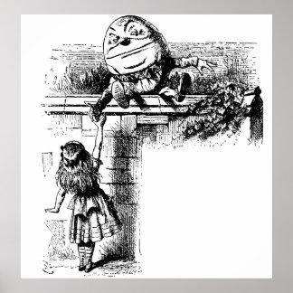 Poster Alice vintage au pays des merveilles, Humpty