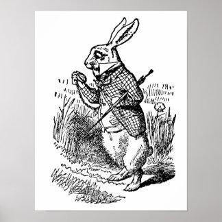 Poster Alice vintage au pays des merveilles la montre