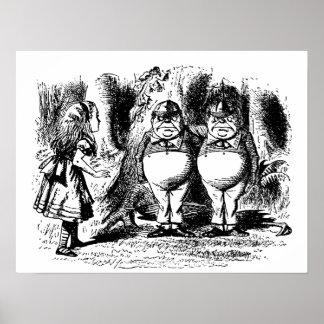 Poster Alice vintage au pays des merveilles, Tweedledum