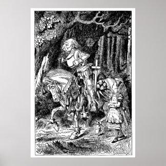 Poster Alice vintage dans le chevalier blanc du pays des