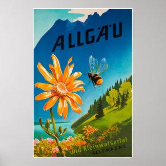Poster Allgau, Bavière, Allemagne, affiche de voyage