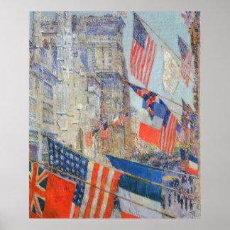 Poster Alliés jour, mai 1917 par Childe Hassam, art