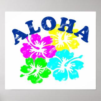 Poster Aloha le Hawaïen coloré vintage fleurit le cadeau
