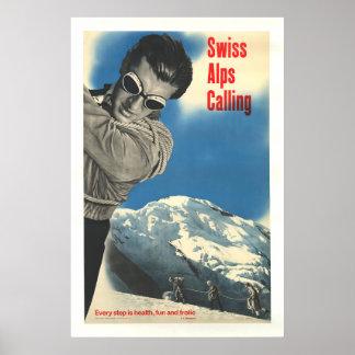 Poster Alpes suisses appelant, affiche vintage de ski