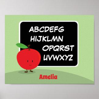 Poster Alphabet Apple avec l'affiche du nom |