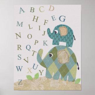 Poster Alphabets mignons d'éléphant d'art de mur de crèch