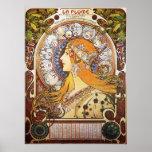 Poster Alphonse Mucha. Plume de La/zodiaque, 1896.