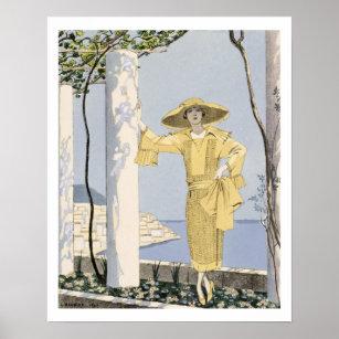 Poster Amalfi, illustration d'une femme dans une robe