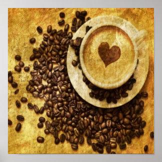 Poster Amant chic de café de grains de café de cappuccino