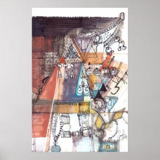 Poster ÂME - copie tribale multicolore de beaux-arts