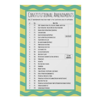 Poster Amendements constitutionnels des USA