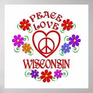 Poster Amour le Wisconsin de paix