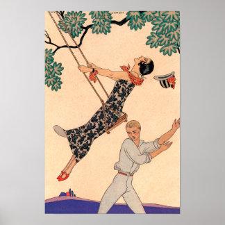 Poster Amour vintage d'art déco, l'oscillation par George