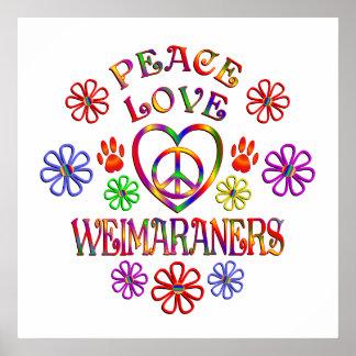 Poster Amour Weimaraners de paix