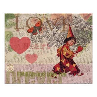 Poster Amoureux Girly de coeur d'amour