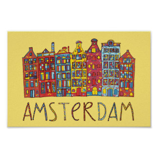 Poster Amsterdam dans la mosaïque