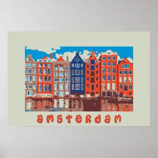 Poster Amsterdam, Hollande, affiche de voyage