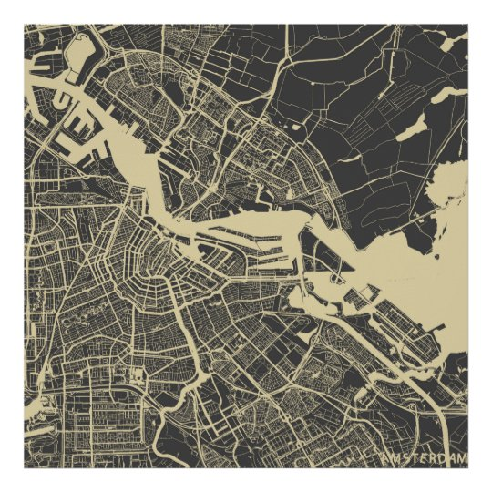 Poster Amsterdam map