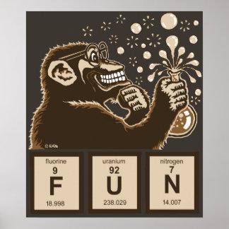 Poster Amusement découvert par singe de chimie