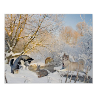 Poster Amusement d'hiver de chien de traîneau sibérien