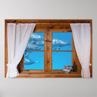 Poster Amusement sous-marin d'océan de dauphins de vue de