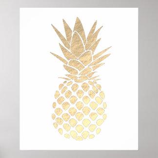 Poster ananas de regard de feuille d'or de faux