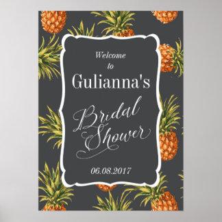 Poster Ananas nuptiale tropical de signe bienvenu de