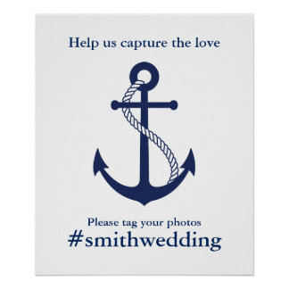 Poster Ancre Hashtag l'épousant nautique de bleu marine