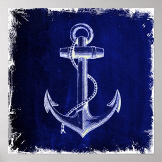 Poster ancre nautique chic côtière de bleu marine de