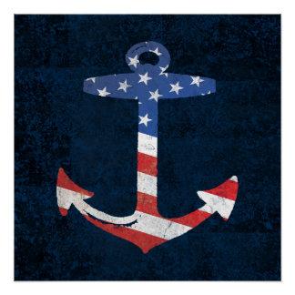 Poster Ancre patriotique vintage USA nautiques de drapeau