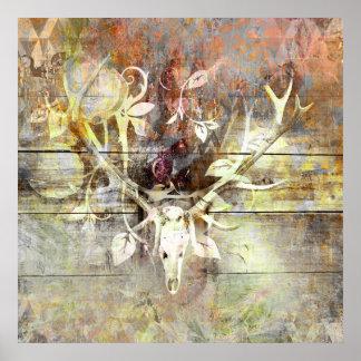 Poster Andouillers en bois floraux rustiques de crâne de