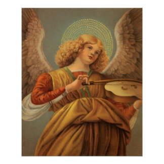 Poster Ange de Noël jouant le violon Melozzo DA Forli