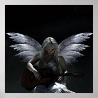 """Poster Ange tombé """"guitare foncée """""""