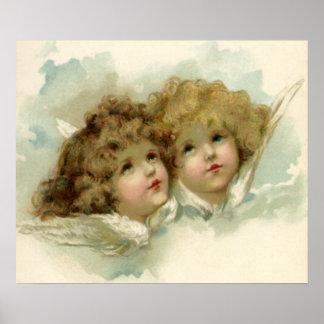 Poster Anges religieux victoriens vintages en nuages