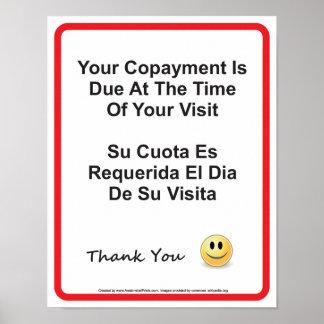 Poster Anglais-espagnol de docteur Office Copayment Wall