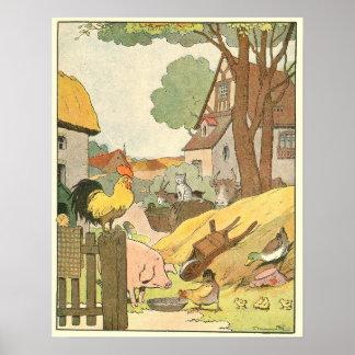 Poster Animaux sur livre de contes de ferme