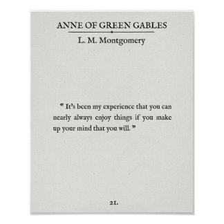 Poster Anne des pignons verts - citation de page de livre
