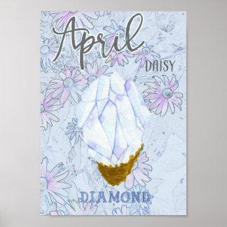 Poster Anniversaire de marguerite et de diamant d'avril
