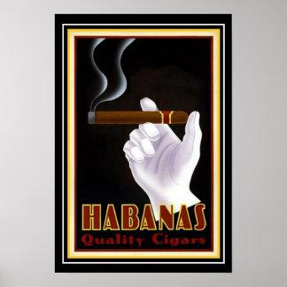 """Poster Annonce 13 x 19 de cigare de """"Habanas"""" de Cubain"""