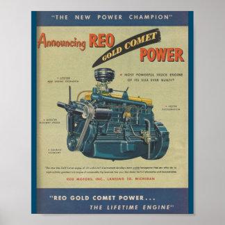 Poster Annonce de MOTEUR de moteur de camion de comète