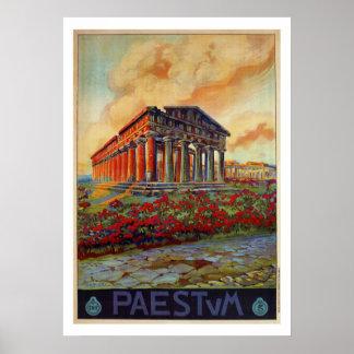 Poster Annonce italienne de voyage de temple du grec