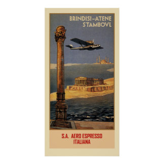 Poster Annonce plate vintage italienne Brindisi Istanbul