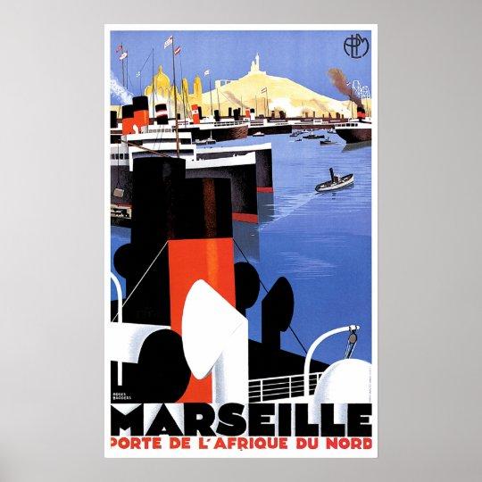 poster annonce vintage de bateau de marseille porte de. Black Bedroom Furniture Sets. Home Design Ideas