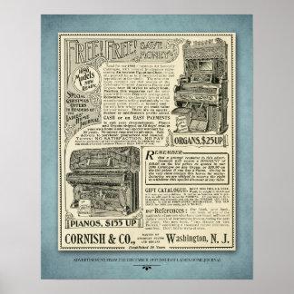 Poster Annonce vintage de piano
