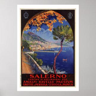 Poster Annonce vintage de voyage d'été de Salerno Italie