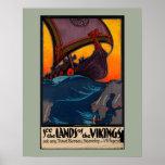 Poster Annonce vintage scandinave de voyage avec le