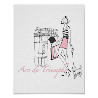 Poster Apple sauvage | Arc de Triomphe - croquis Girly